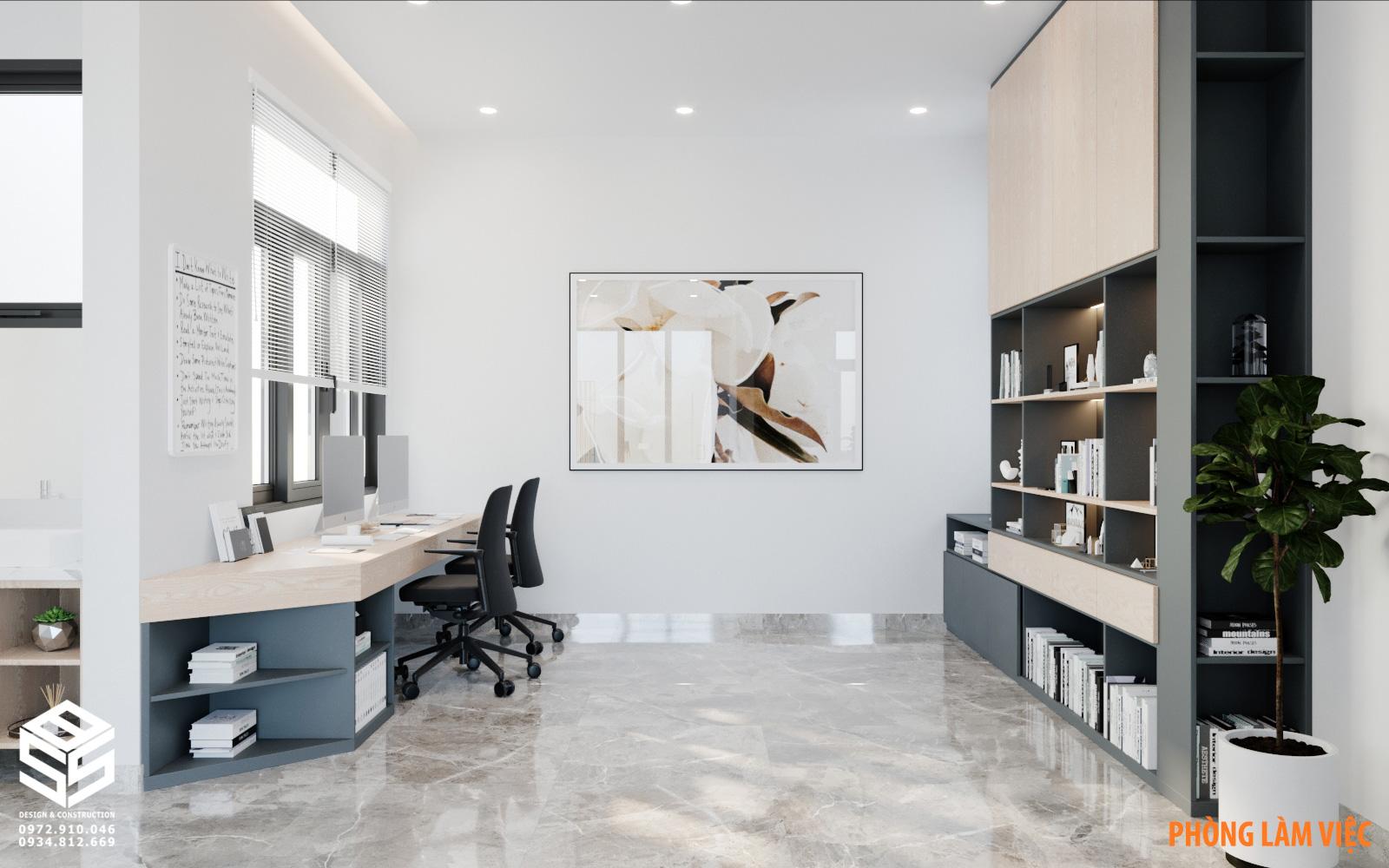 Phòng làm việc và đọc sách biệt thự hiện đại