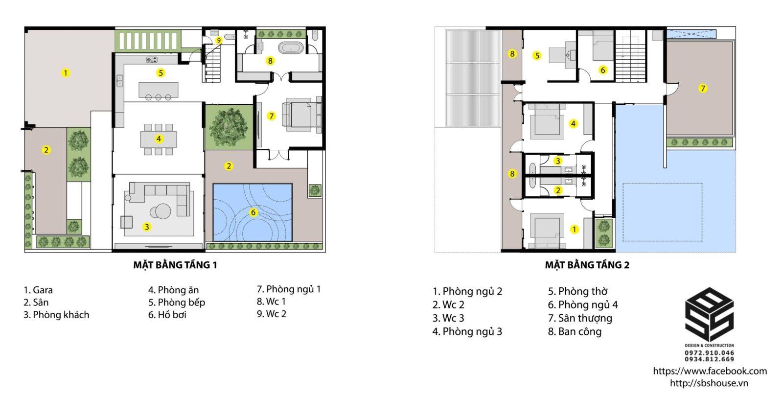 Mặt bằng tổng thể của căn biệt thự 2 tầng