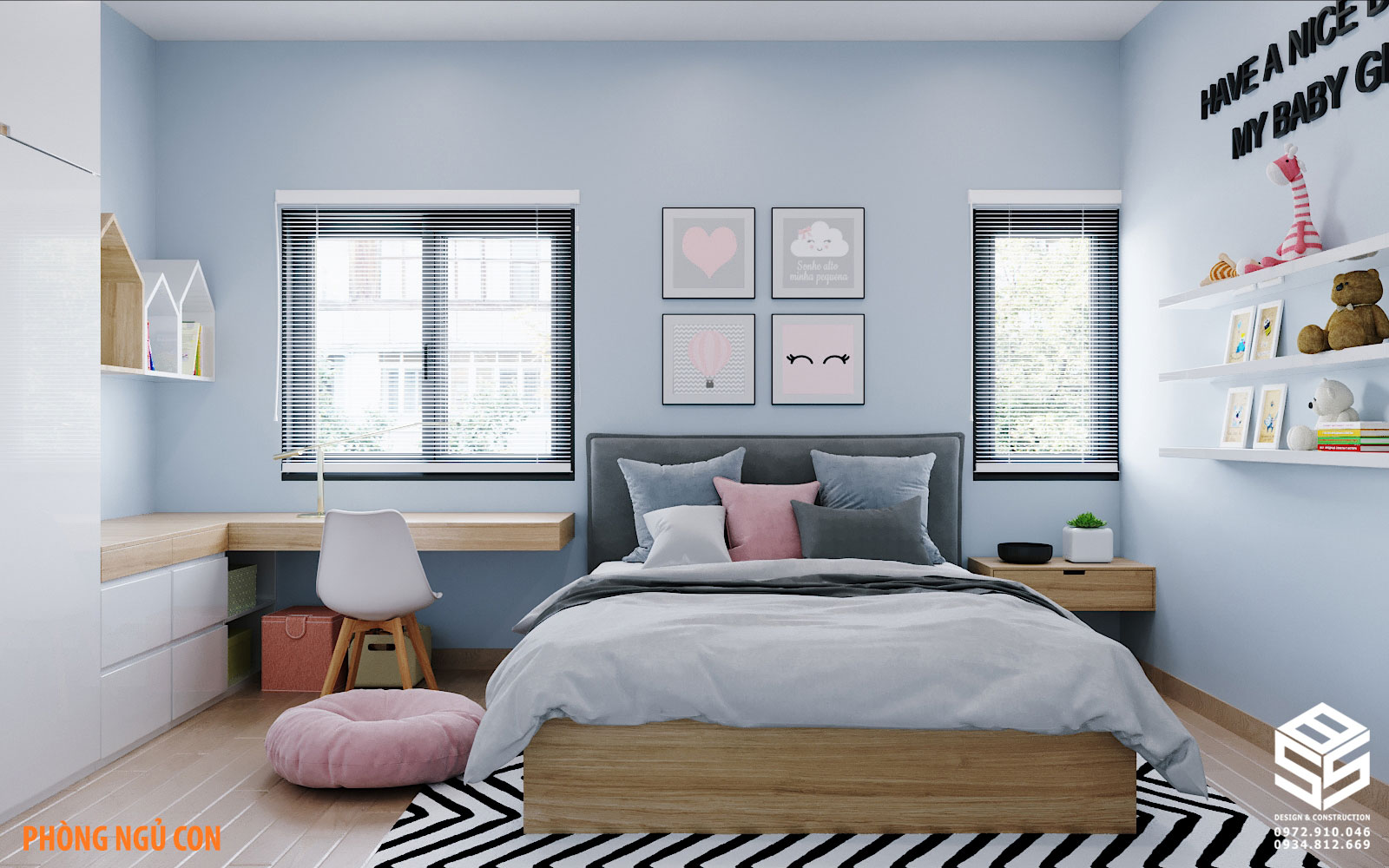 Mẫu thiết kế phòng ngủ cho bé gái