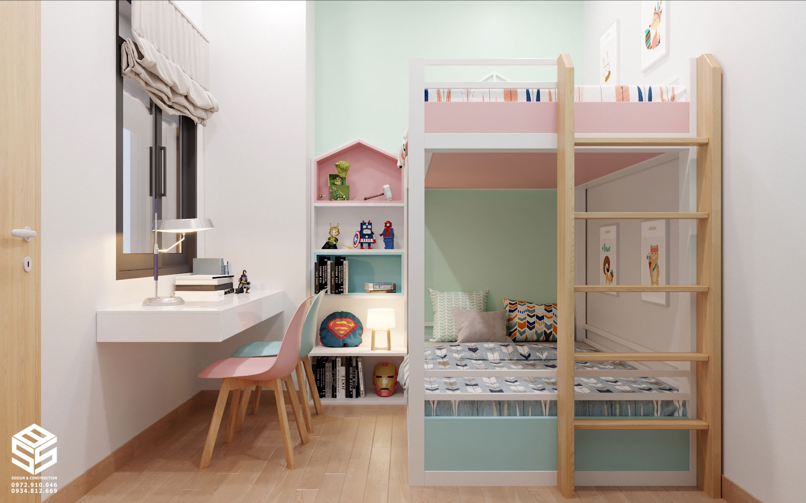 Mẫu thiết kế phòng ngủ giường tầng