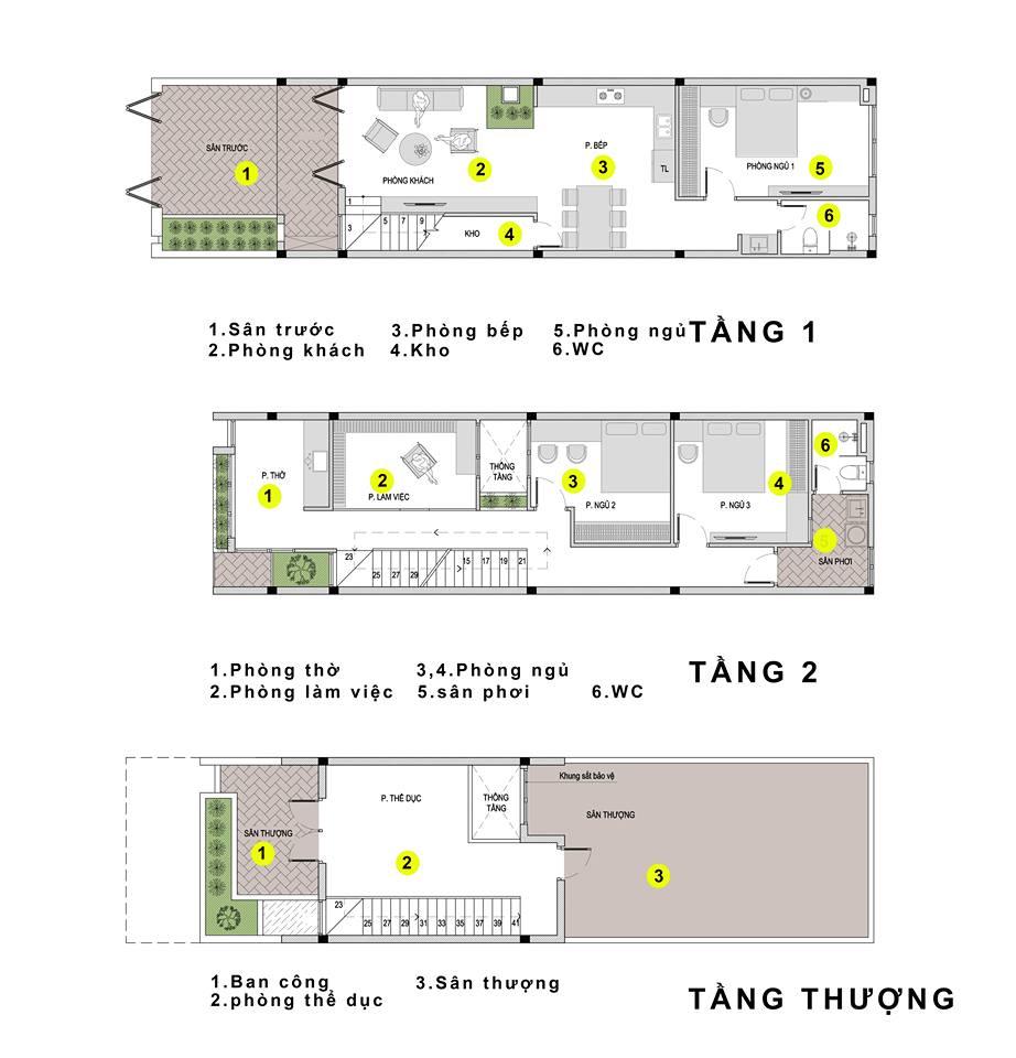 Phối cảnh mặt bằng nhà 3 tầng