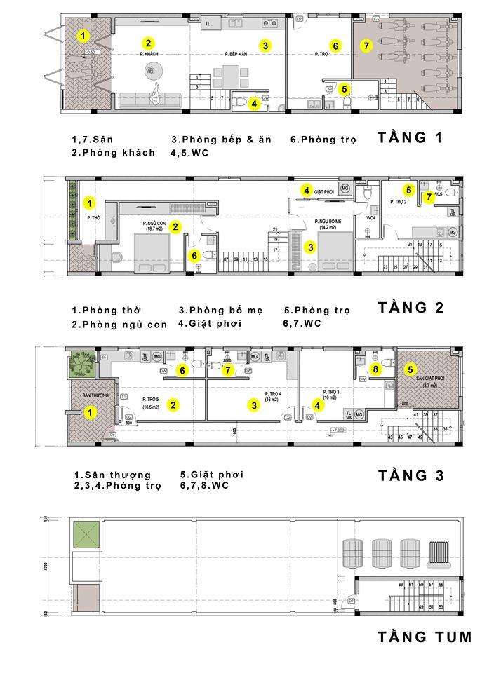 Phối cảnh mặt bằng nhà ở kết hợp cho thuê