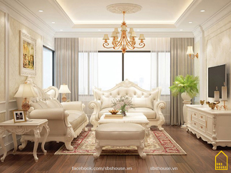Phòng khách tân cổ điển đơn giản