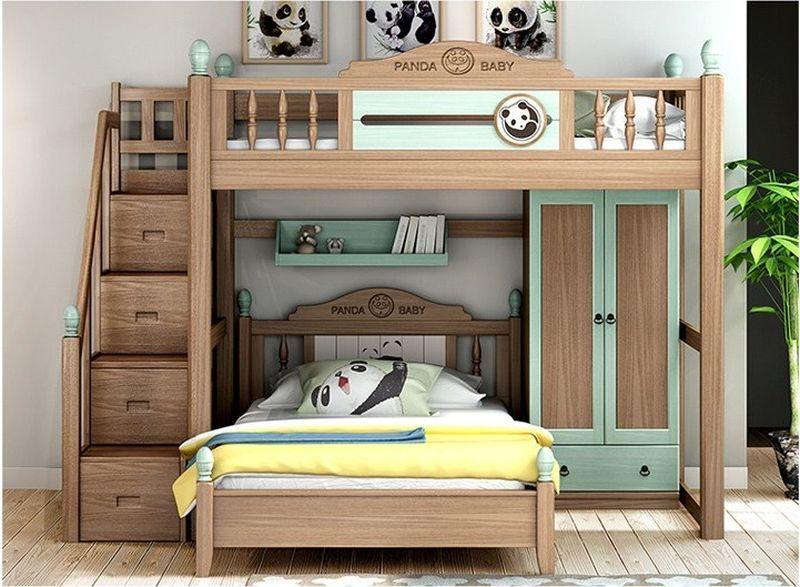Giường đôi kết hợp hệ tủ và kệ sách