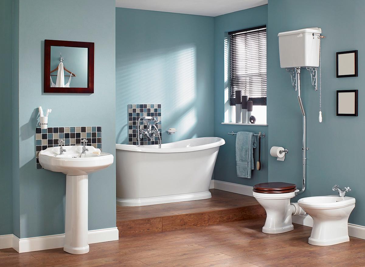 phòng tắm màu xanh pastel