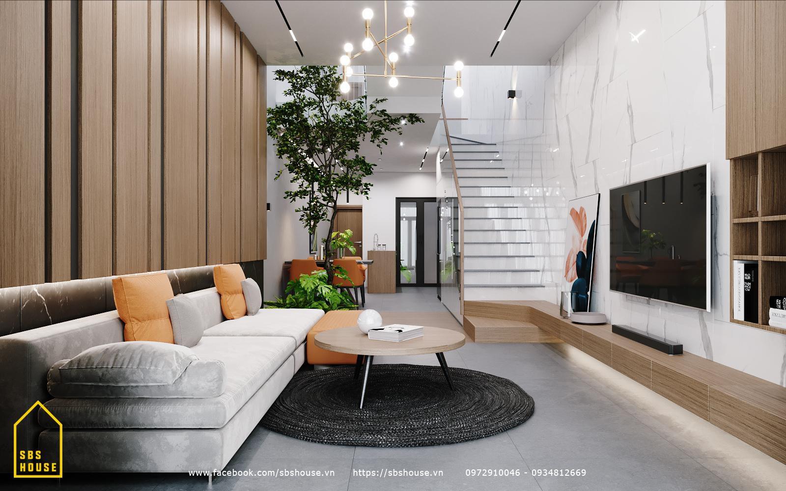 Phòng khách nhà phố 3 tầng đẹp