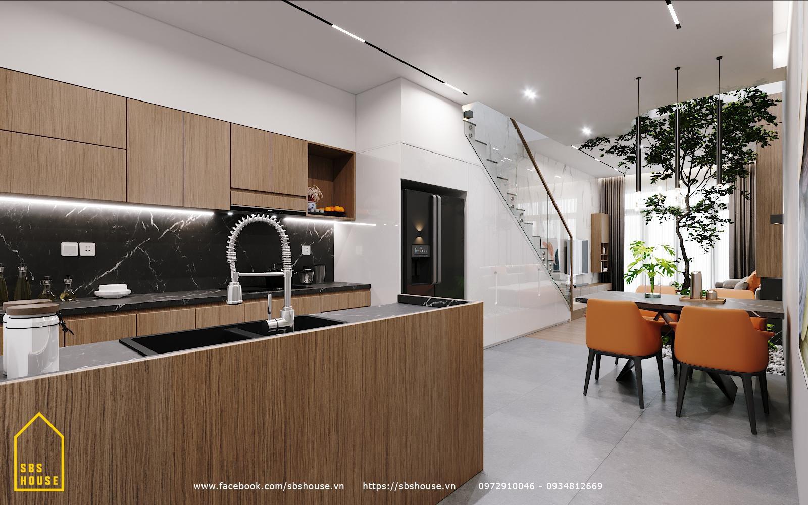 Thiết kế phòng bếp hiện đại sang trọng