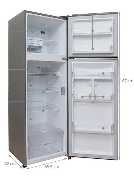 kích thước tủ lạnh hai cánh