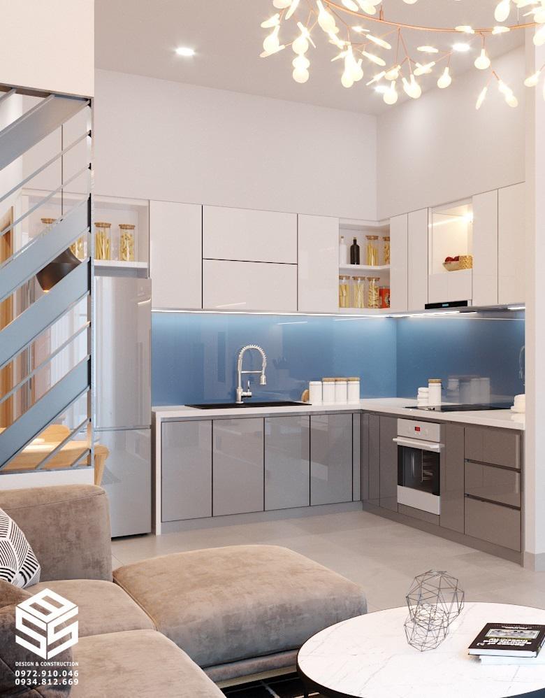 kính bếp màu xanh dương