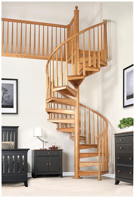 Cầu thang gỗ xoắn ốc cho nhà ống