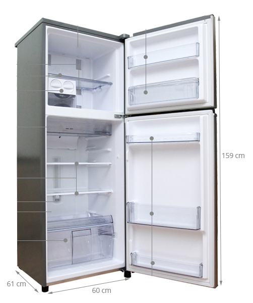 chiều cao tủ lạnh 2 cánh