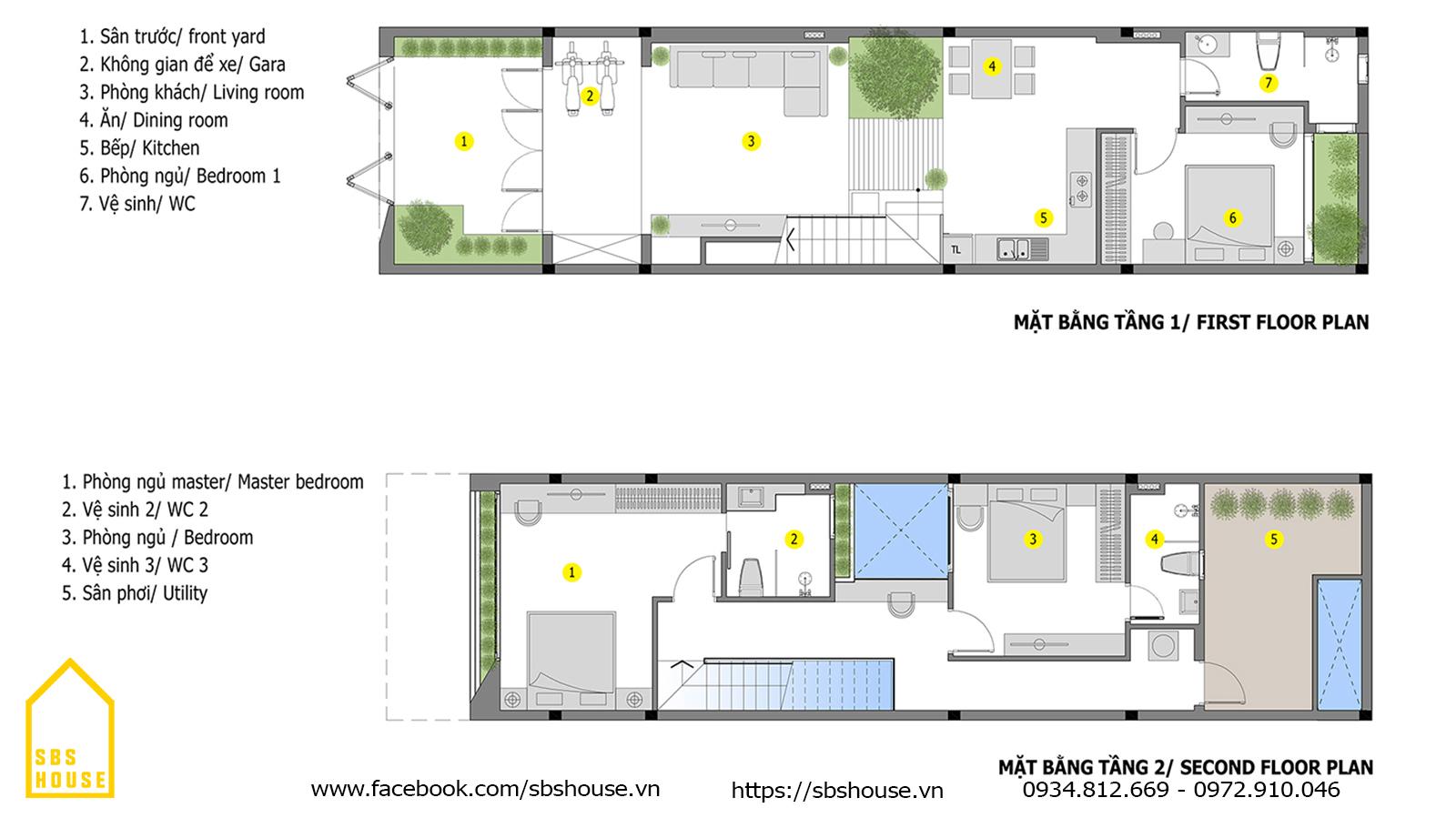 Thiết kế công năng nhà 2 tầng 3 phòng ngủ