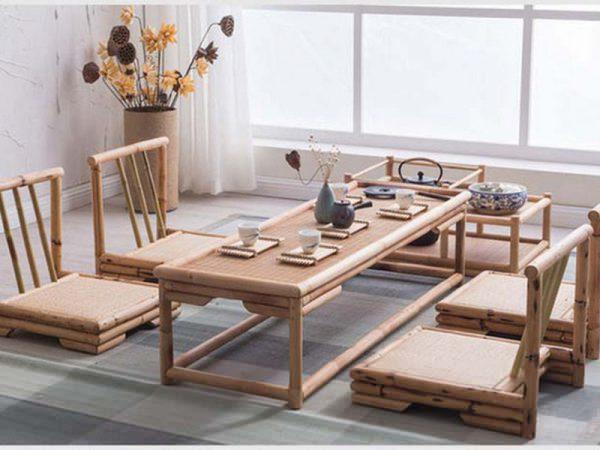 mẫu bàn ăn kiểu nhật bằng tre