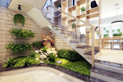 trang trí tiểu cảnh chân cầu thang phòng khách