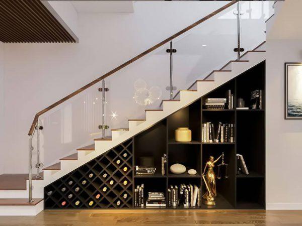 thiết kế gầm cầu thang phòng khách bằng tủ rượu