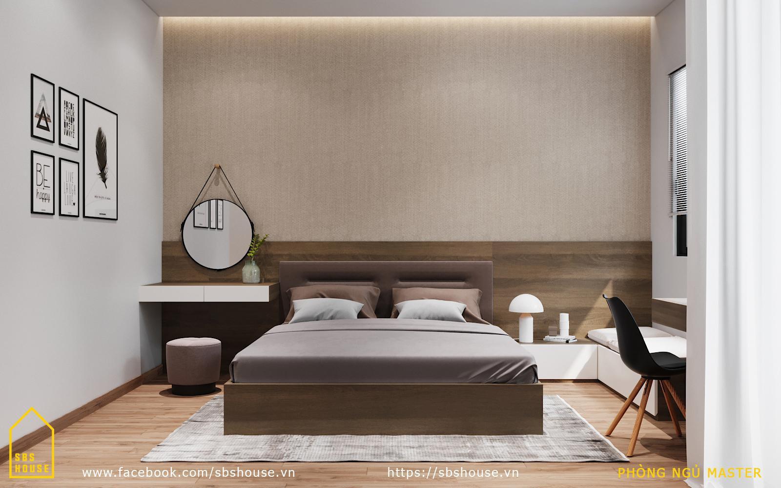 phòng ngủ màu nâu nhạt