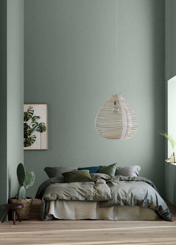 Phòng ngủ màu xám xanh tinh tế