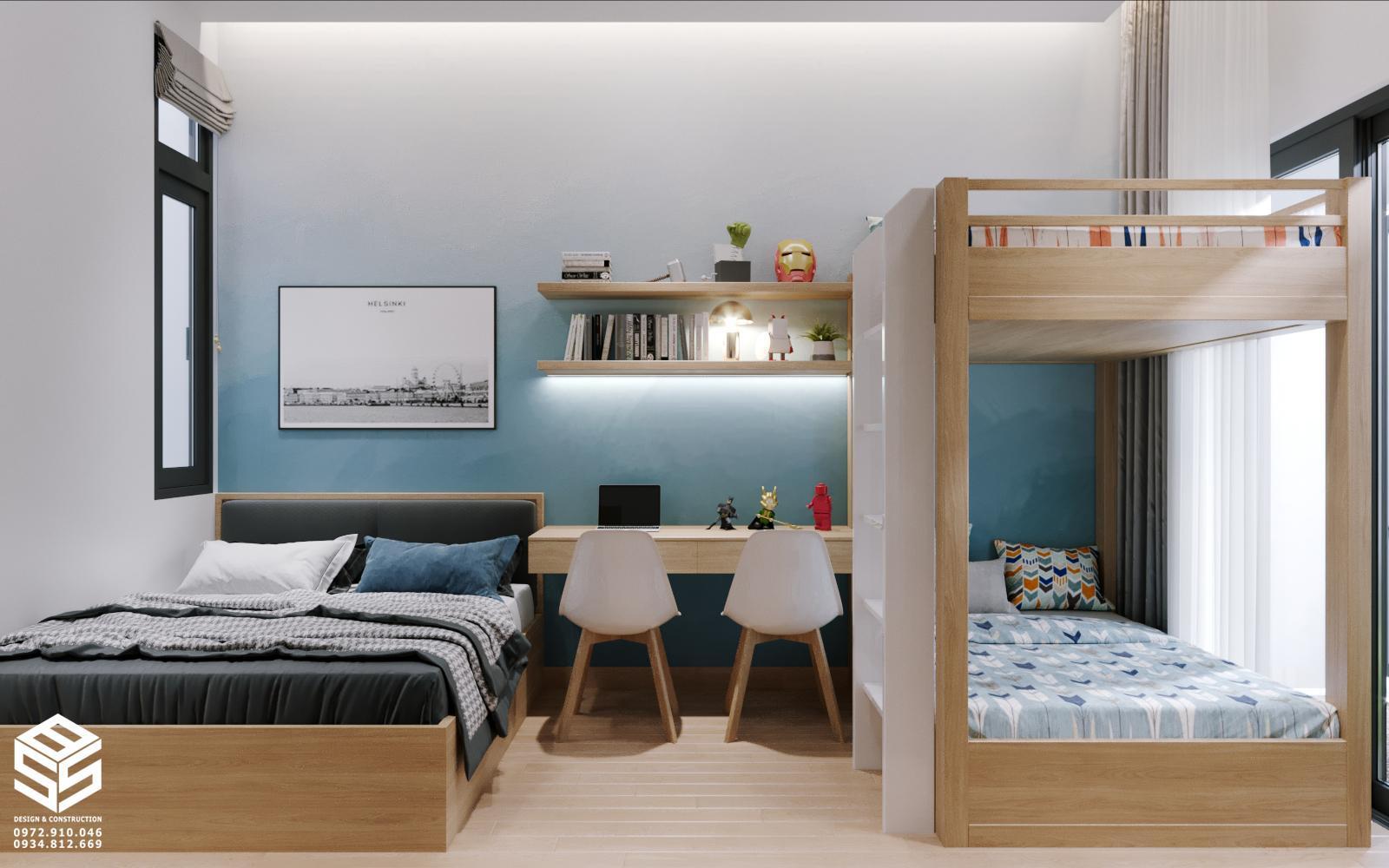 phòng ngủ gường tầng cho con
