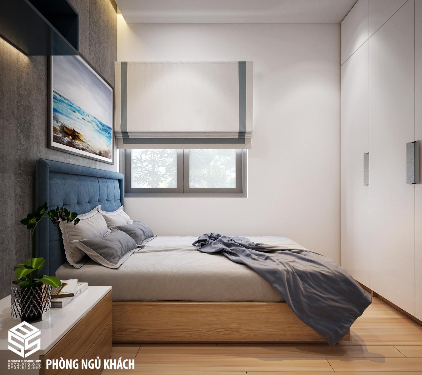 phòng ngủ sơn màu xám trắng