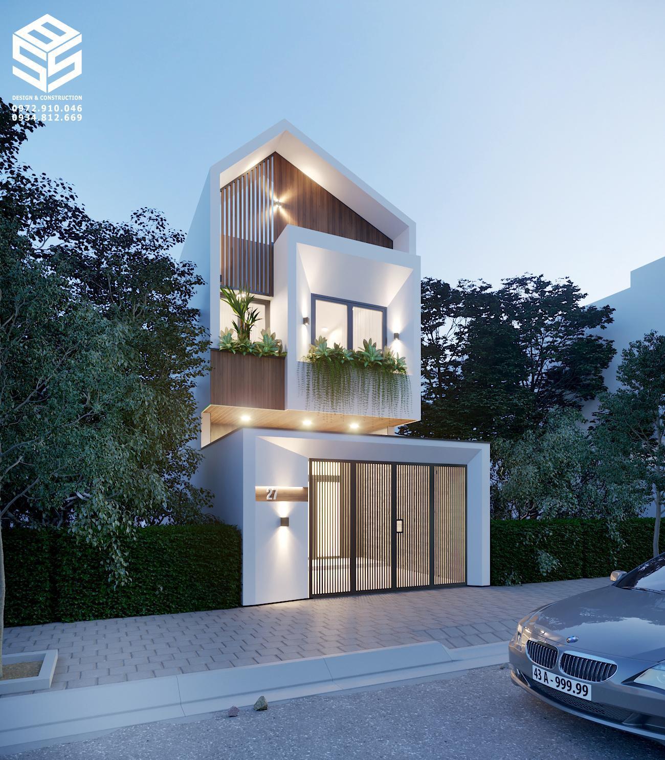 mặt tiền nhà 2 tầng đơn giản