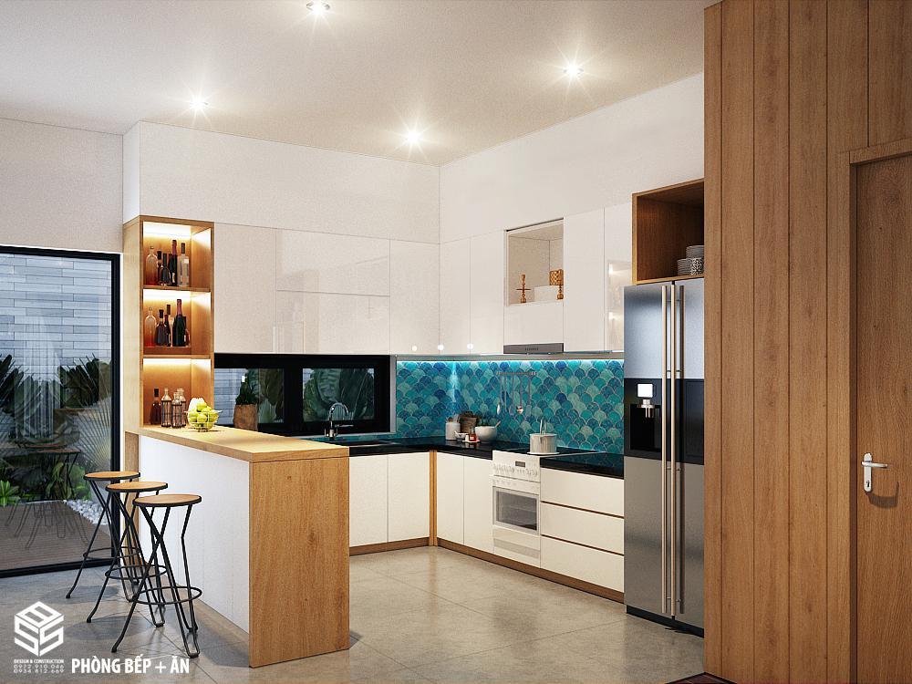 thiết kế phòng bếp nhà ống