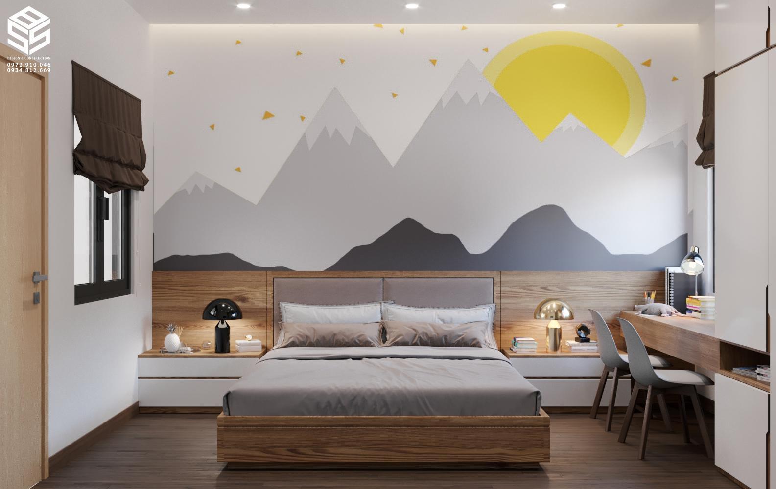 phòng ngủ bé gái hiện đại