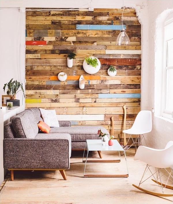 trang trí tường đẹp mộc mạc bằng gỗ