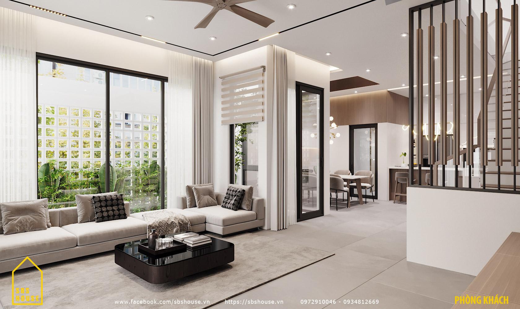 Mẫu phòng khách đẹp hiện đại rộng rãi