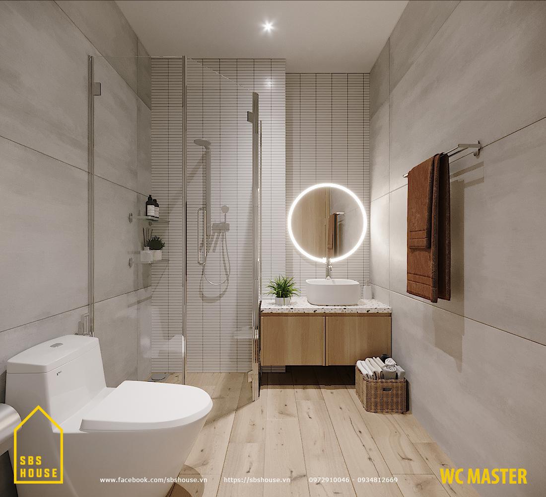 phòng tắm có vách ngăn kính