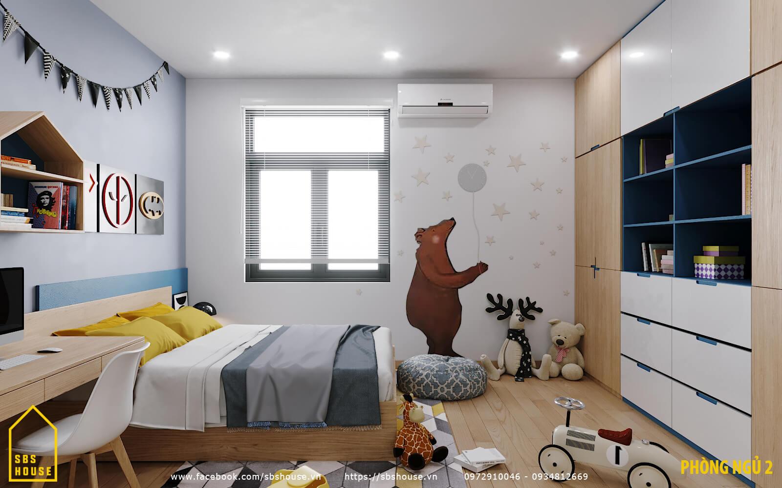 Phối cảnh phòng ngủ con