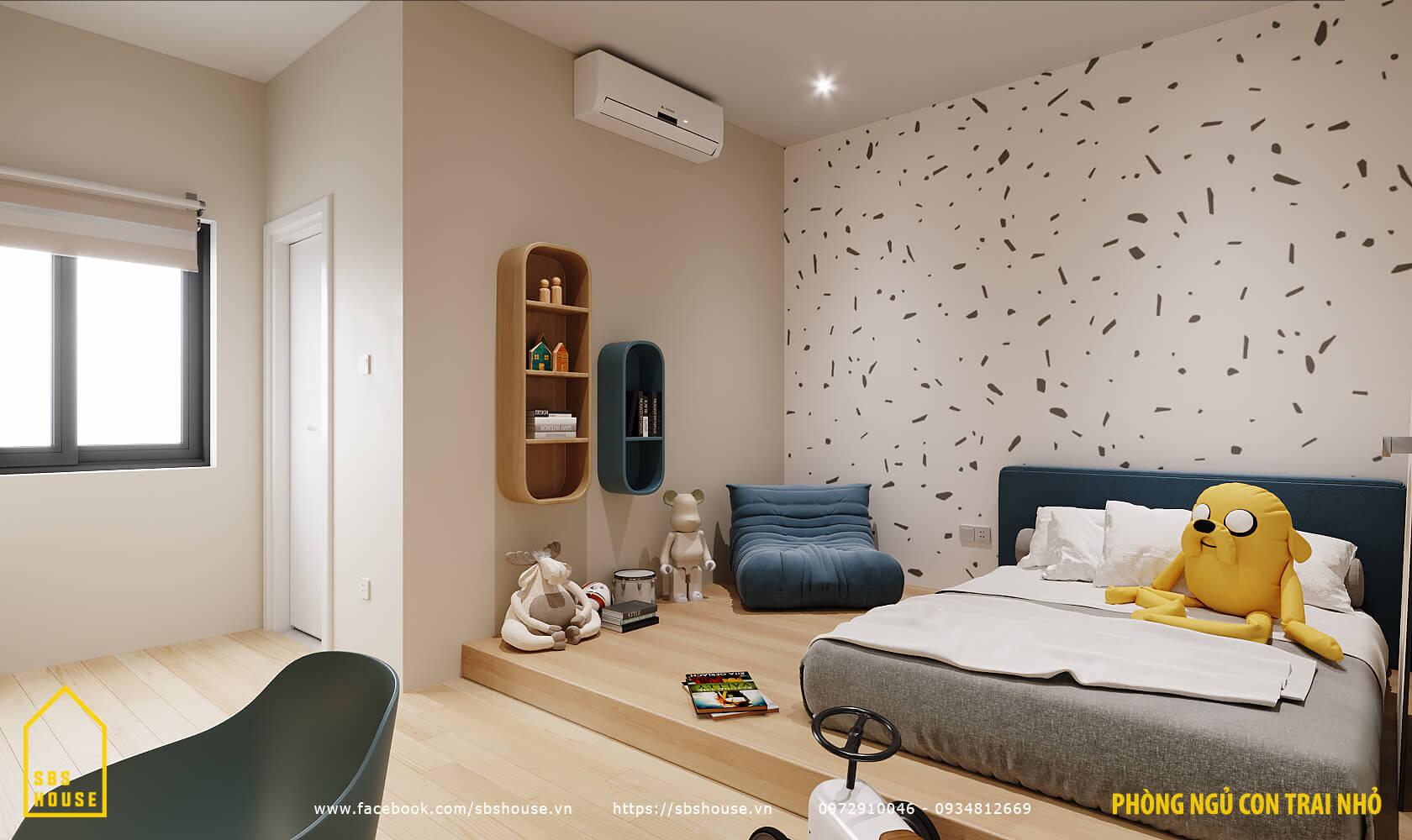 Phòng ngủ cho bé trai tone trắng xanh