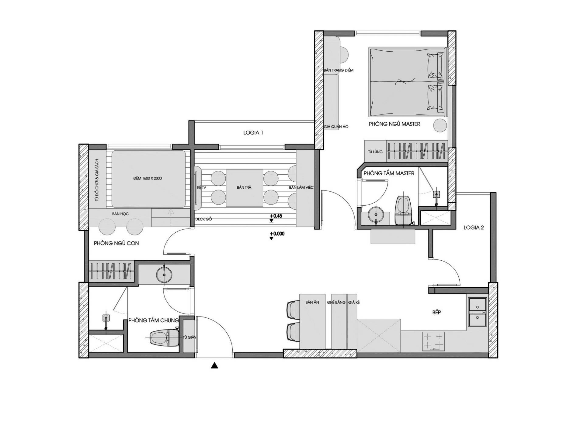 công năng chung cư 2 phòng ngủ