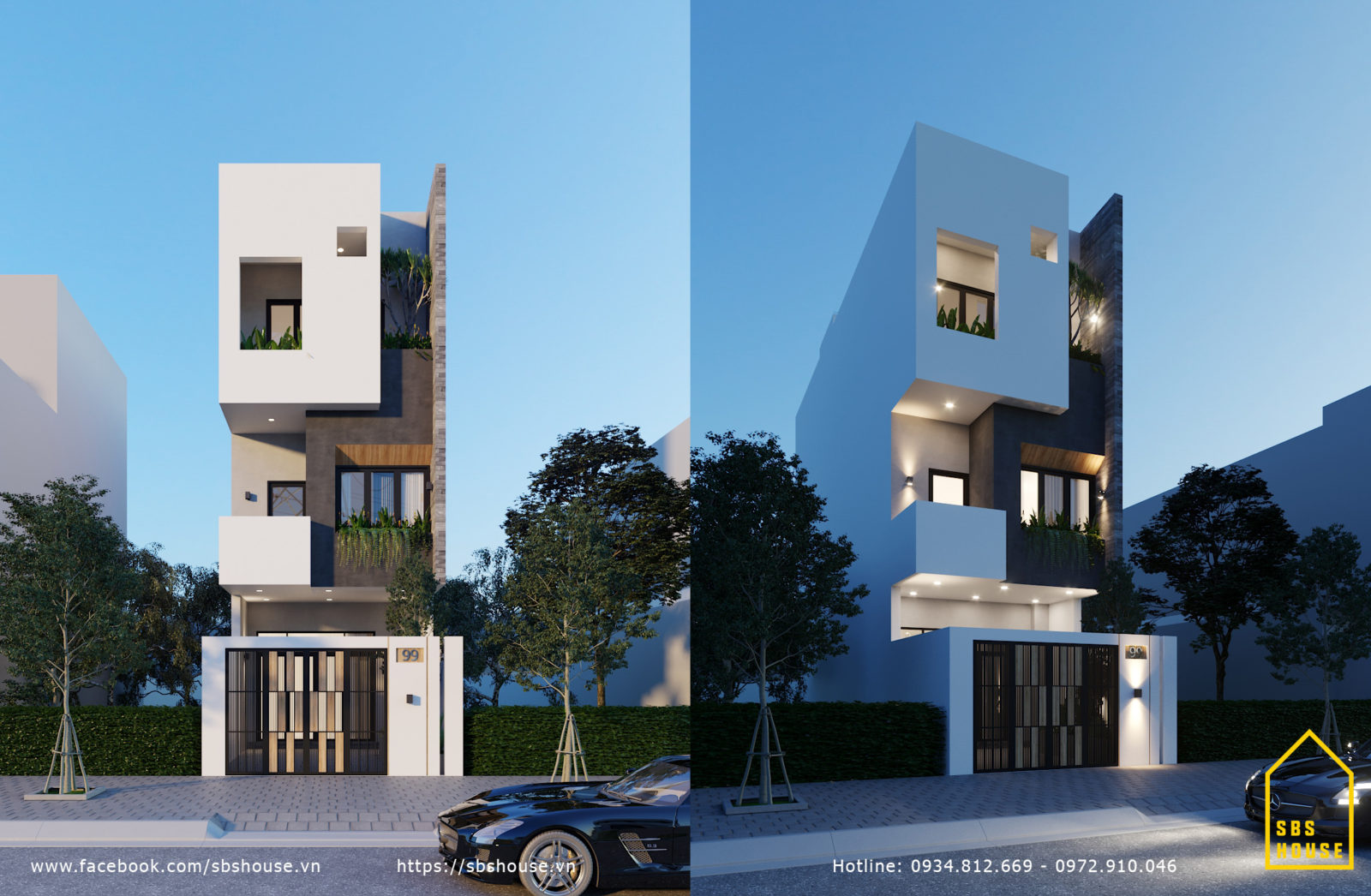 thiết kế kiến trúc nhà 3 tầng