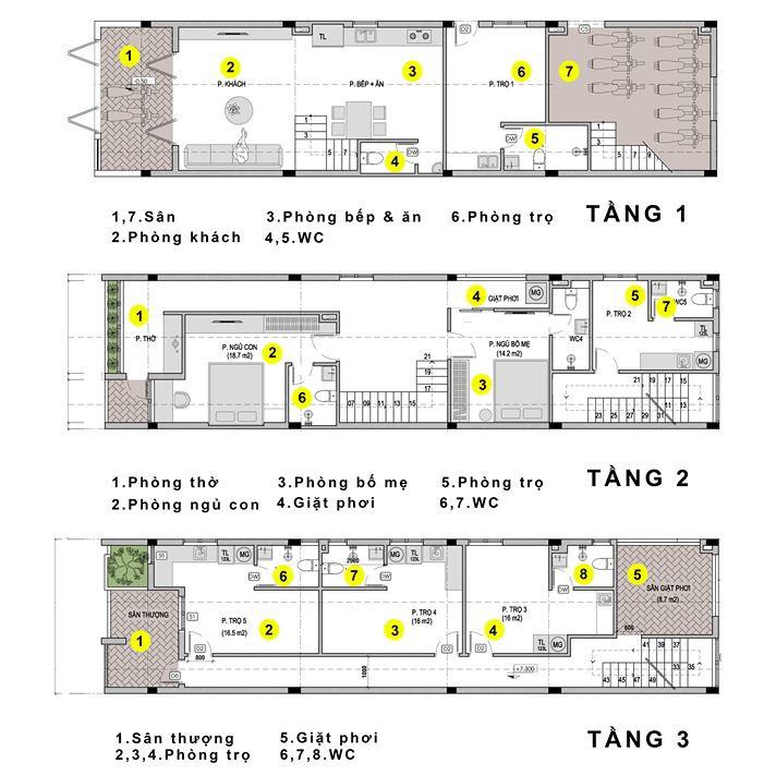 mẫu thiết kế nhà trọ 3 tầng