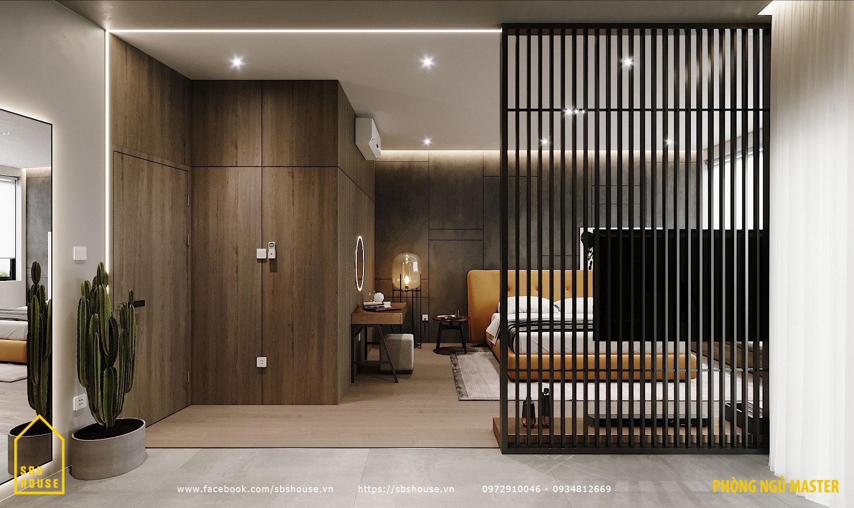 Phòng ngủ master tone màu tối