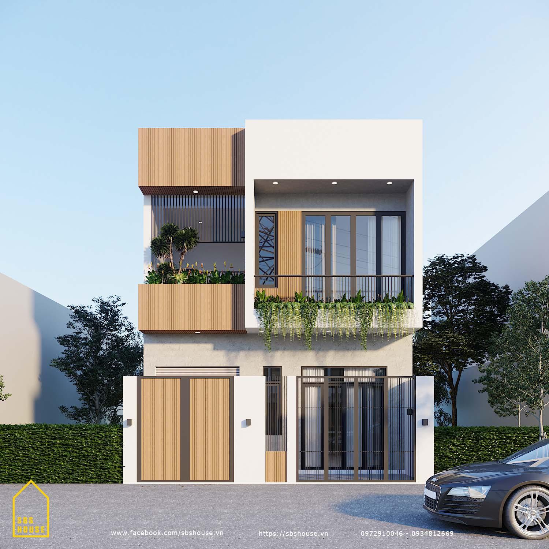 Mặt tiền nhà 2 tầng 5x17m