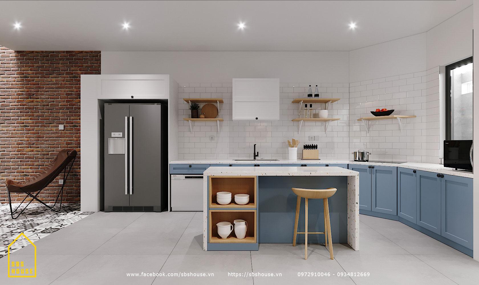 Mẫu phòng bếp màu xanh dương đẹp