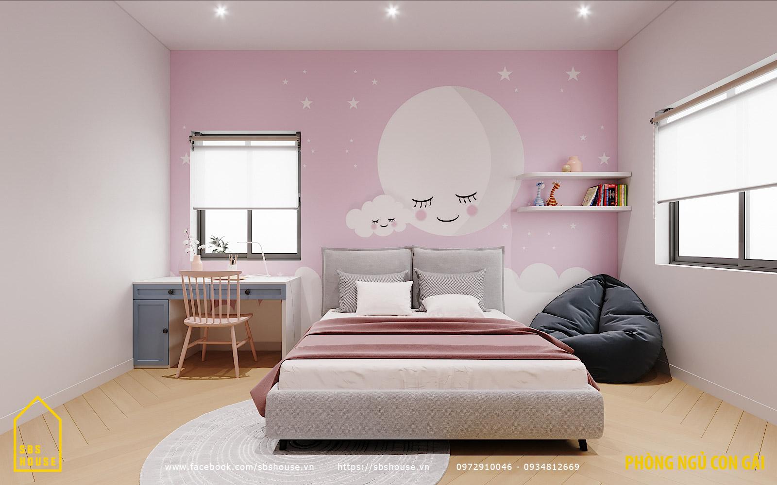 Phòng ngủ cho bé gái màu hồng nữ tính