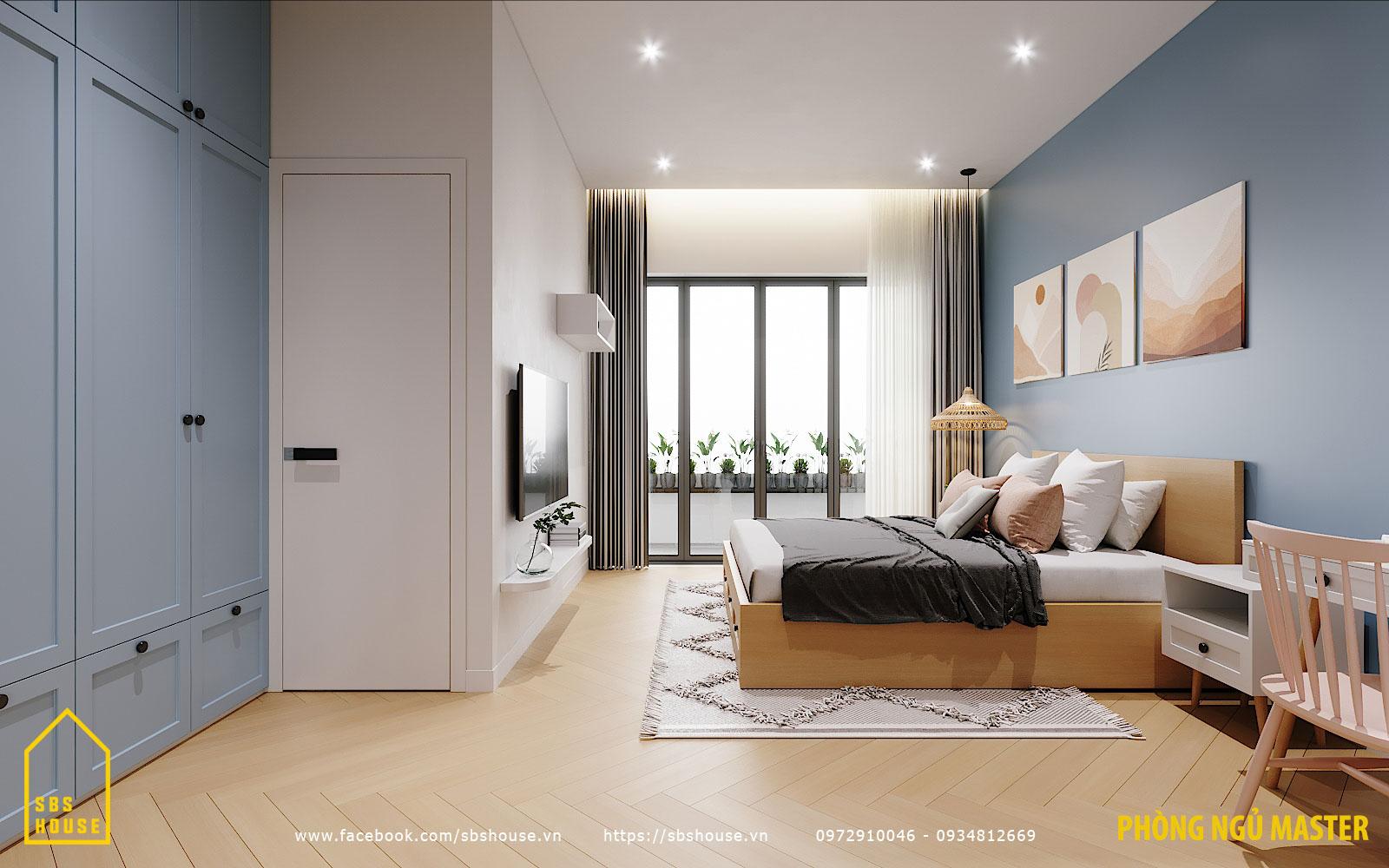 Phòng ngủ đẹp nhờ tone xanh pastel
