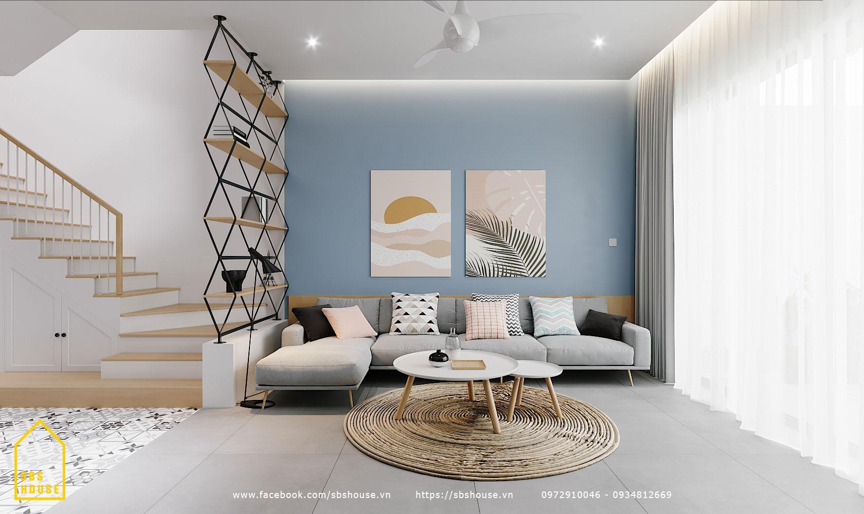 Phòng khách đẹp với tone màu xanh pastel