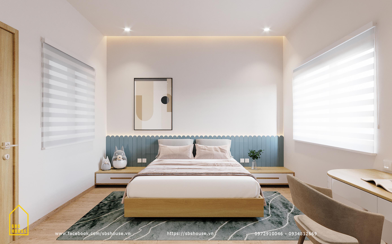 Phòng ngủ màu xanh pastel cho bé gái đẹp
