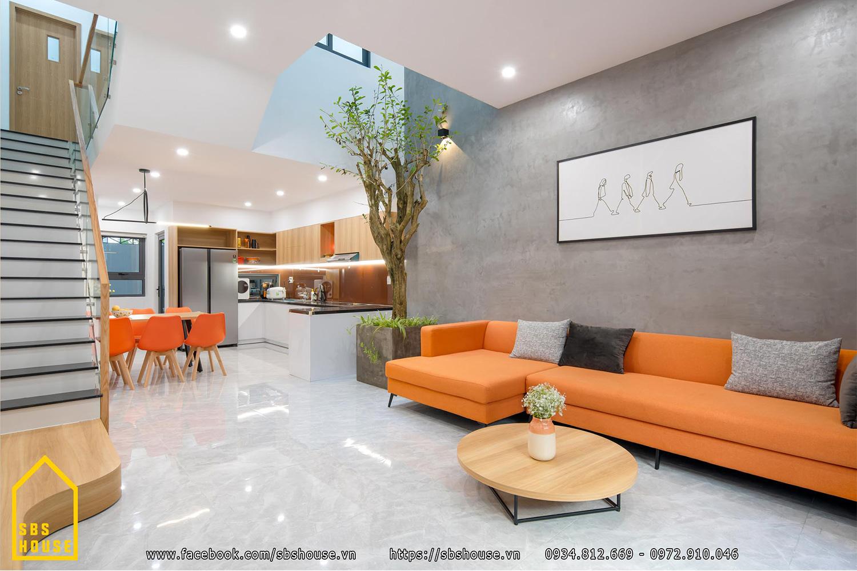 Phòng khách đẹp màu cam
