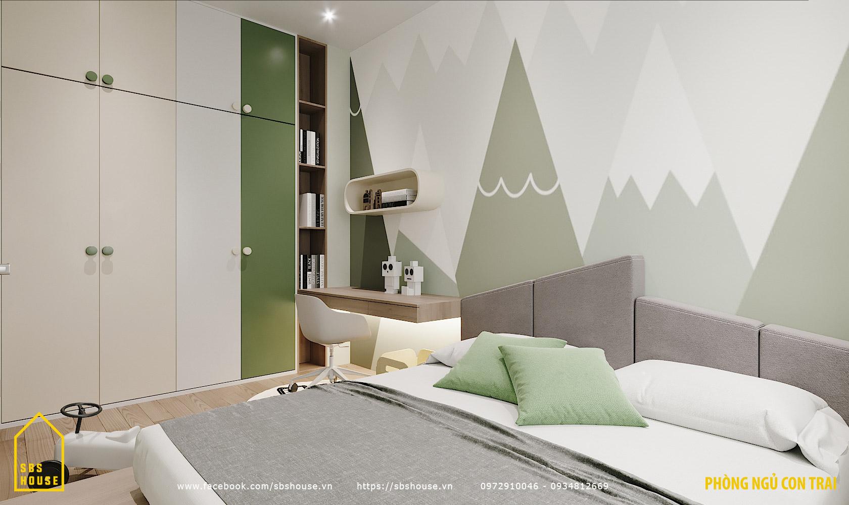 Phòng ngủ cho bé trai màu xanh pastel