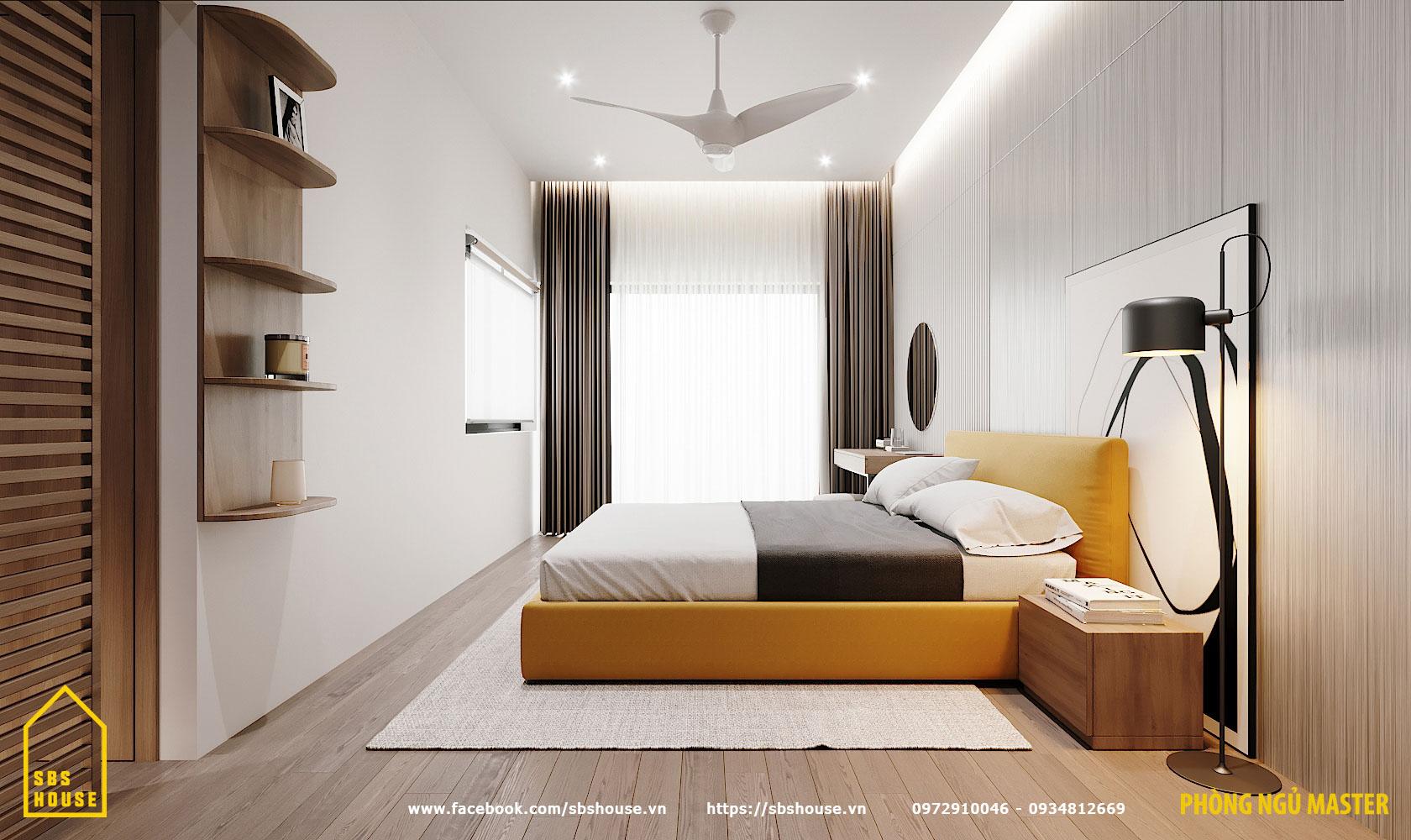 Phòng ngủ master tươi trẻ và hiện đại