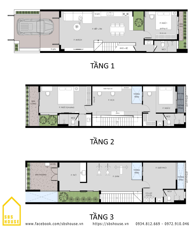 Bản vẽ mặt bằng công năng nhà phố 3 tầng