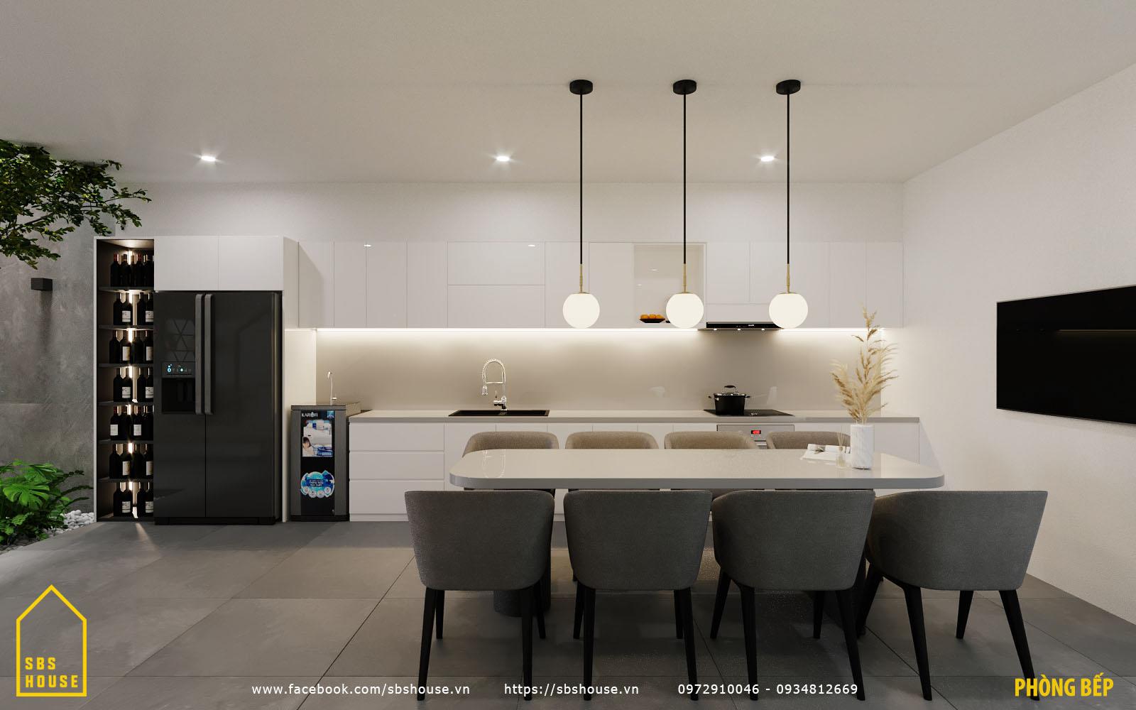 Phòng bếp thông thoáng hiện đại