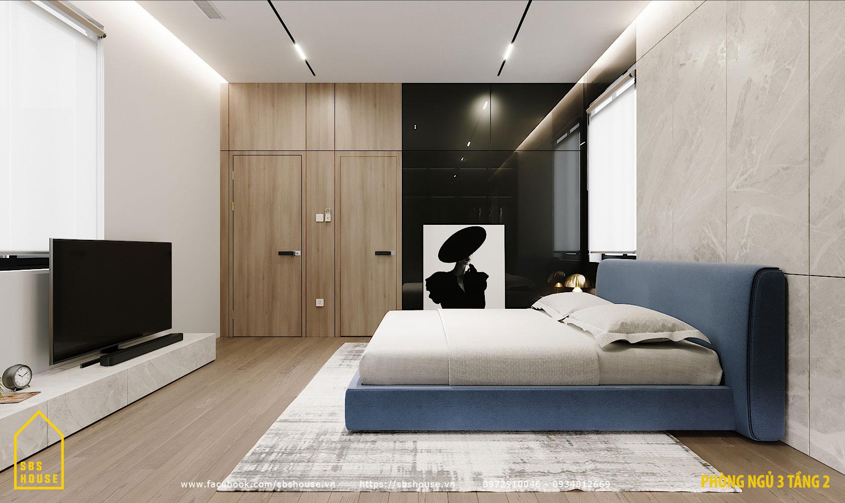 Phòng ngủ đẹp với tủ kính sang trọng