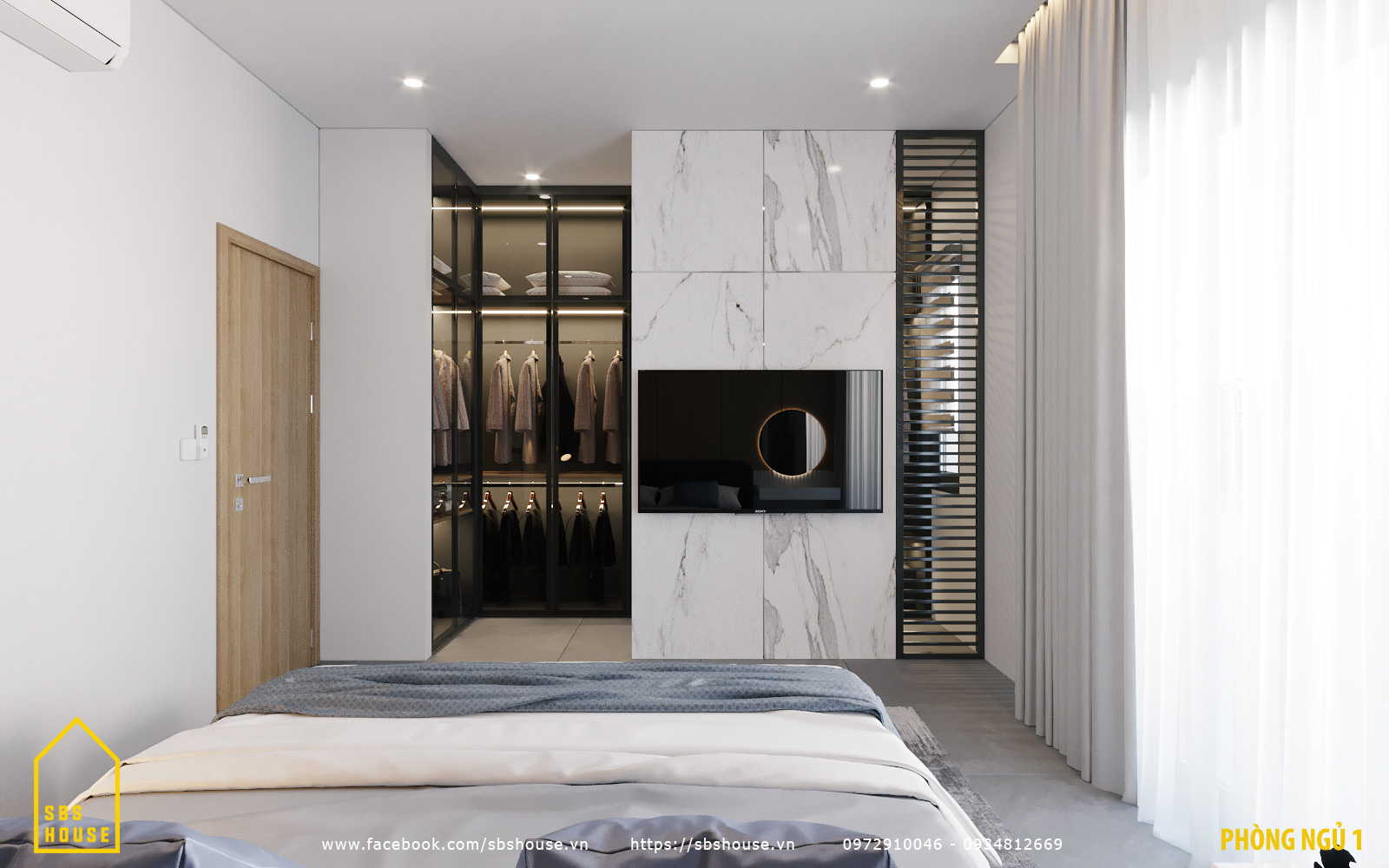 Phòng ngủ hiện đại với phòng thay đồ đẹp