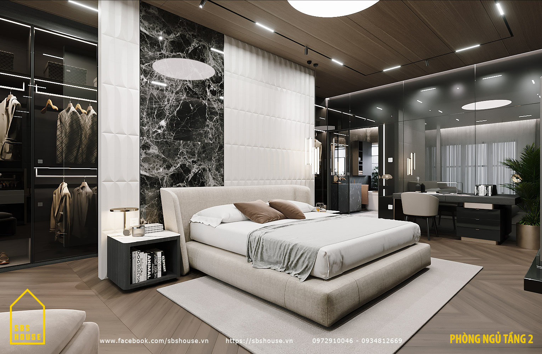 Phòng ngủ sang trọng trong biệt thự hiện đại