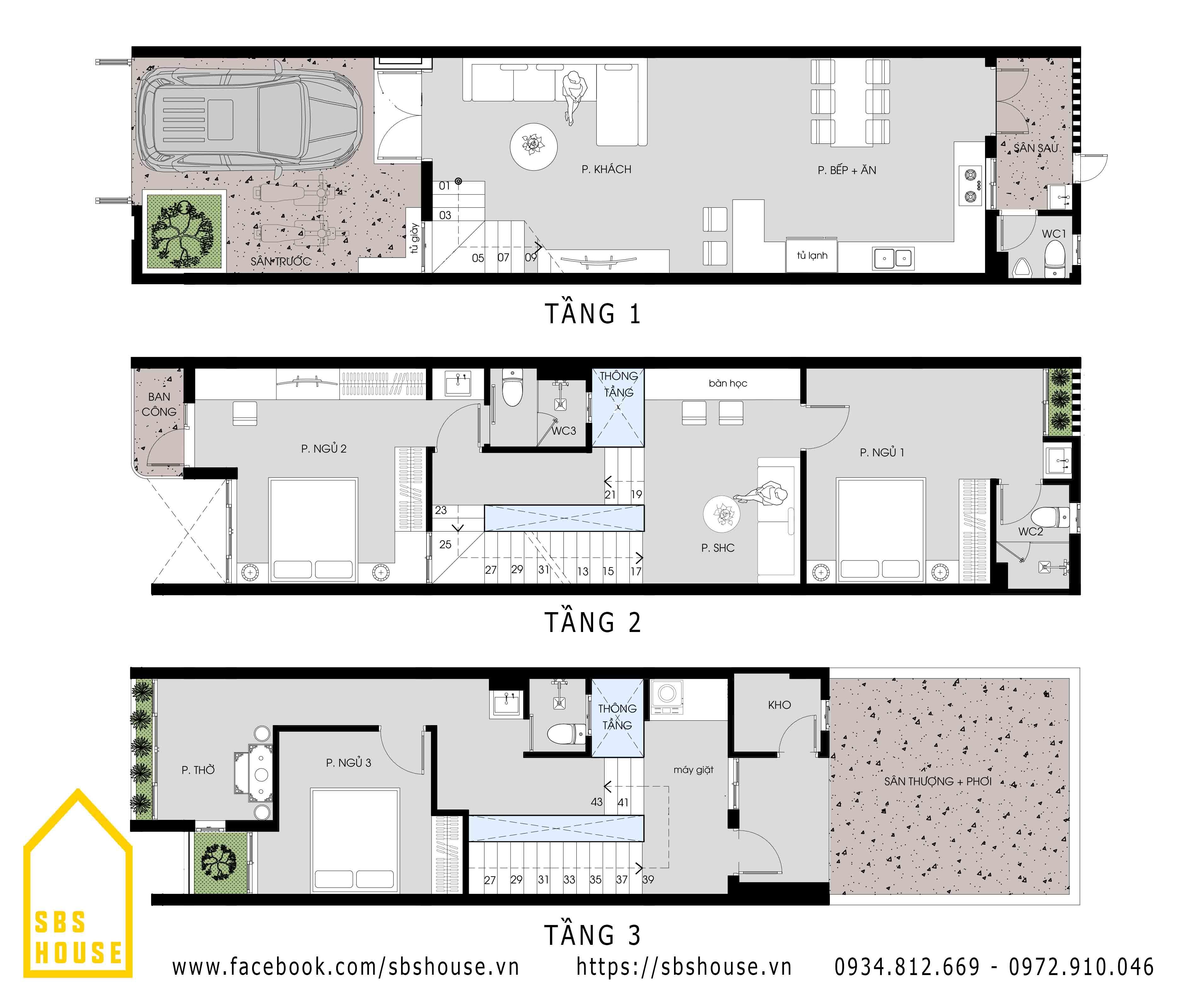 Mặt bằng công năng nhà 3 tầng tối giản